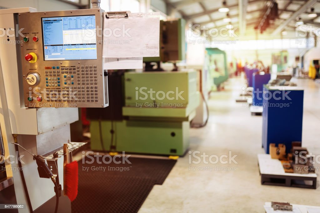Factory equipped with cnc machines stock photo