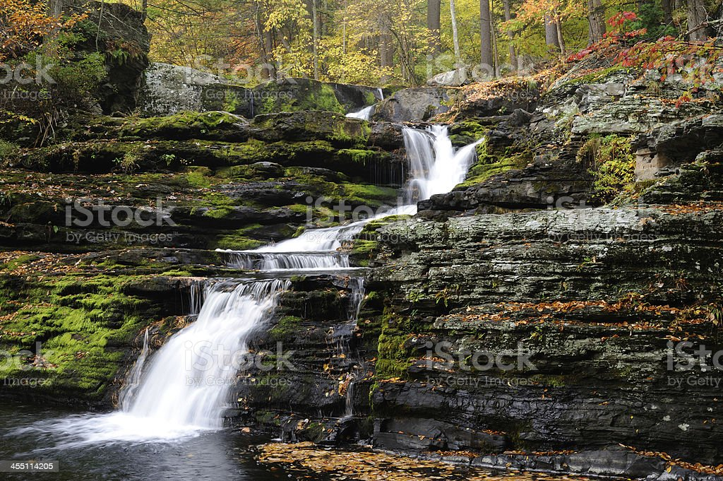 Factory Falls at Delaware Water Gap NRA in Autumn stock photo