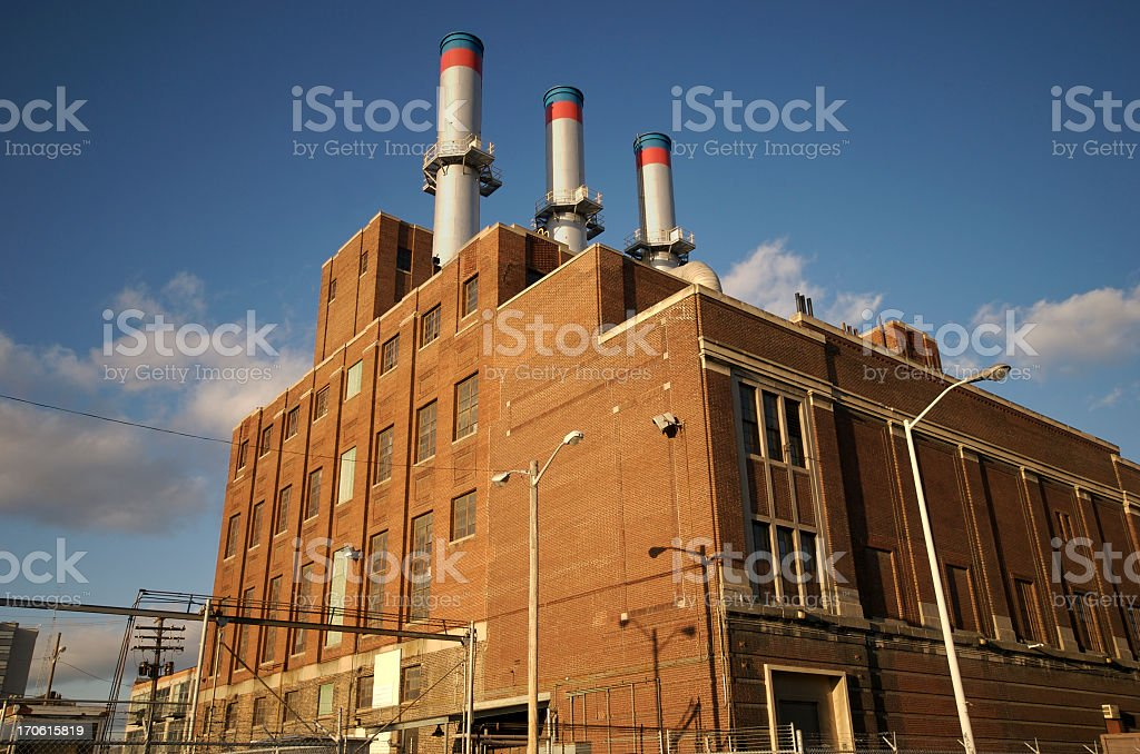 Factory from a low angle, geometric royalty-free stock photo