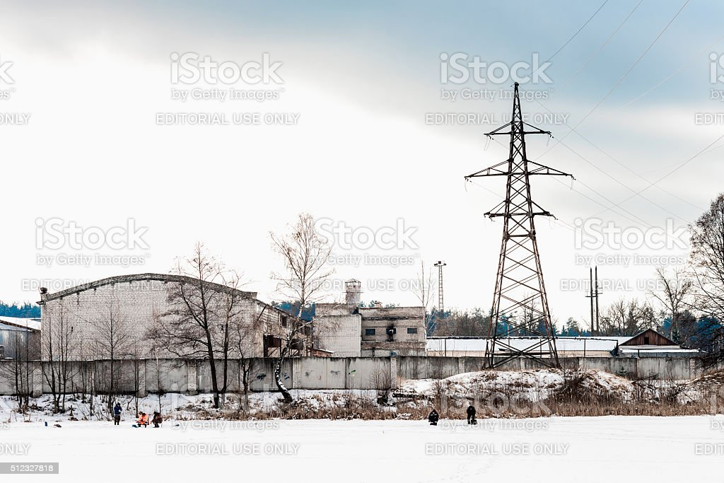 Factory in winter stock photo