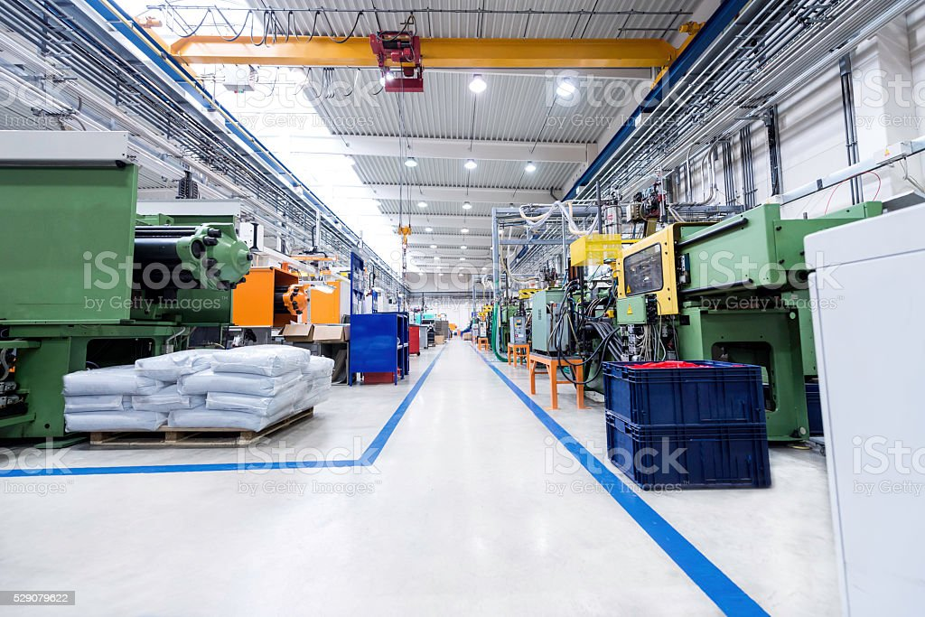 Factory interior of production plastic stock photo