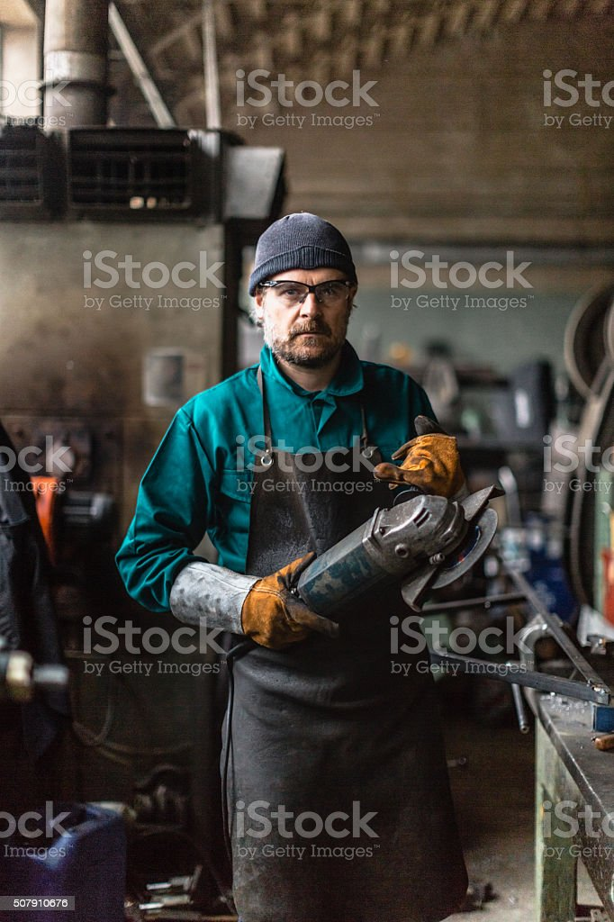 Factory Man portrait stock photo