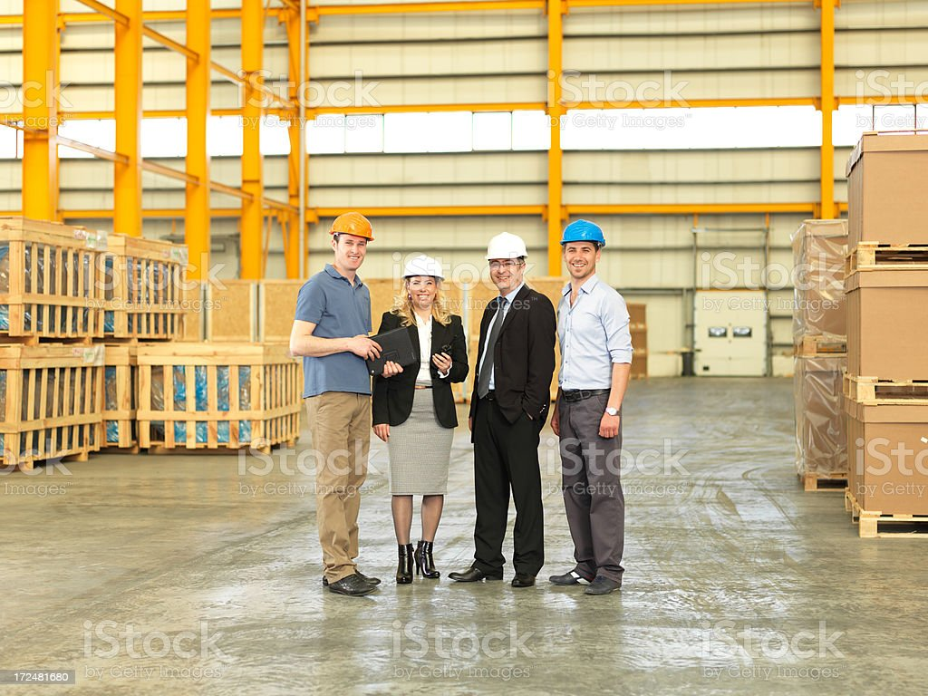 Factory Manager and Warehouse Worker stock photo