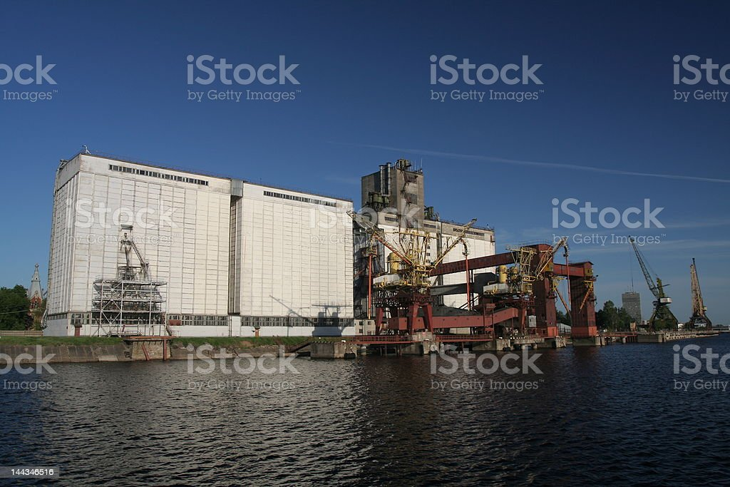 Factory next to river royalty-free stock photo