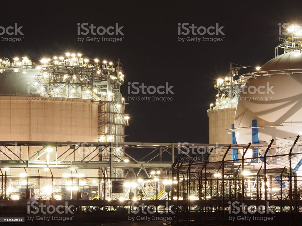 Factory night view stock photo