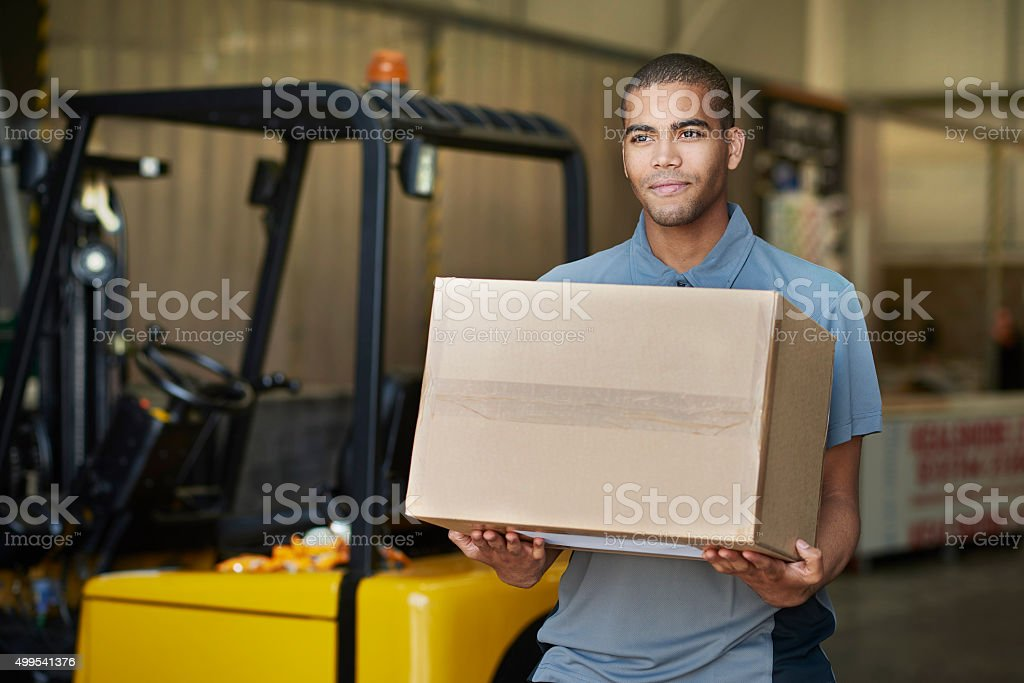 factory pickup courier stock photo
