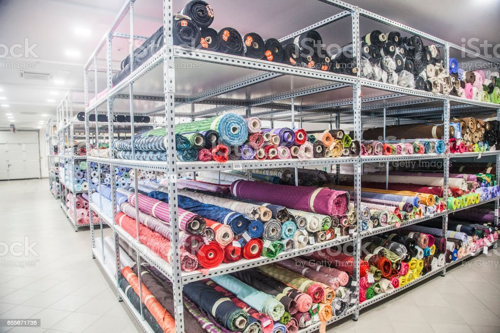Factory sewing textiles stock photo