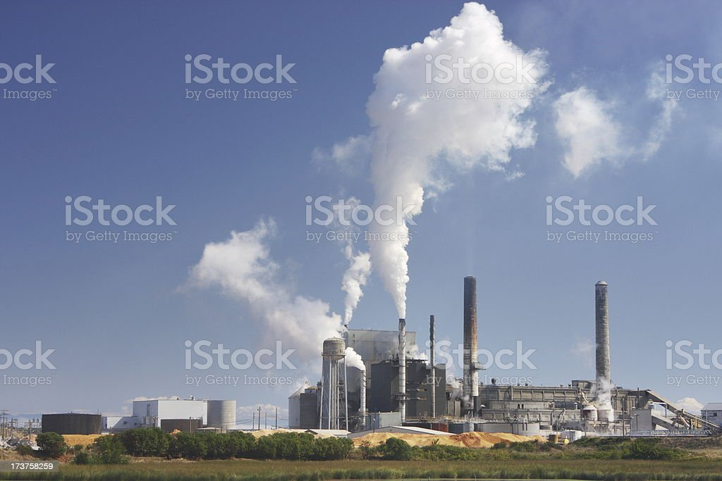 Factory Smoke Stack Pollution Emission royalty-free stock photo