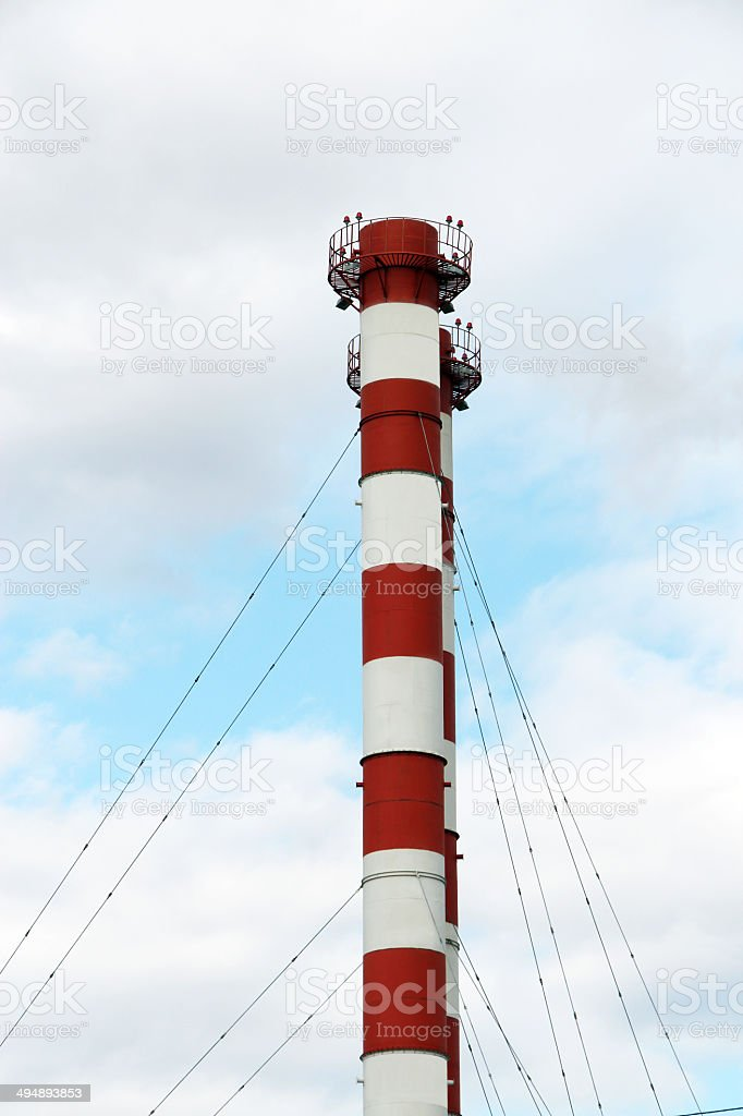 Factory, Smoke Stack, red and white royalty-free stock photo