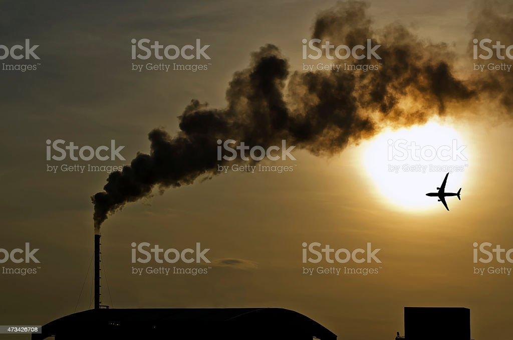factory smokestack stock photo