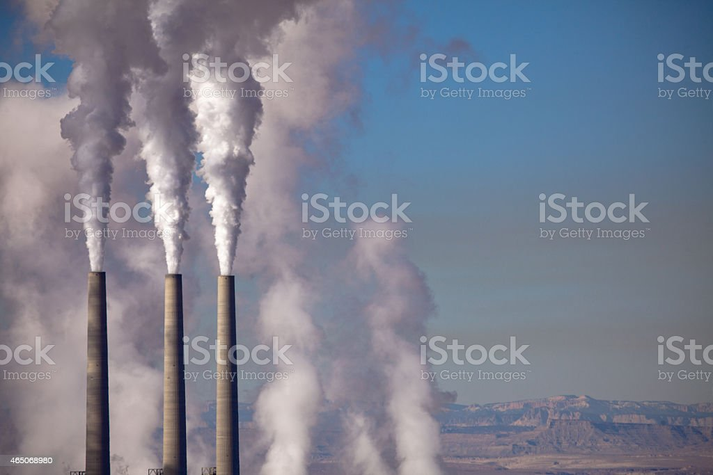 Factory Smokestacks stock photo