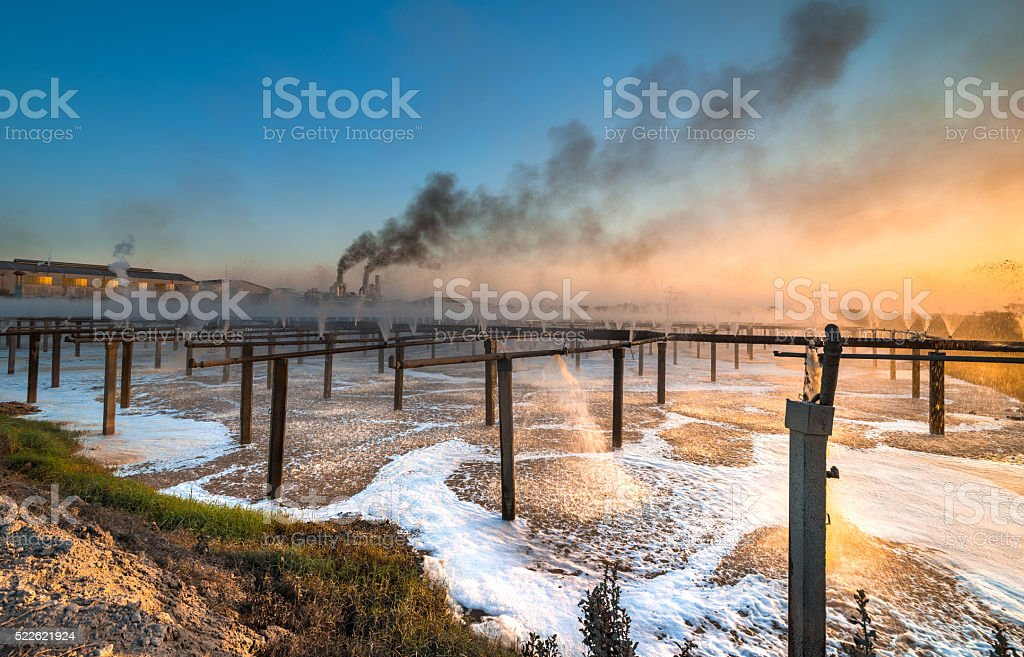 factory wastewater treatment plant stock photo