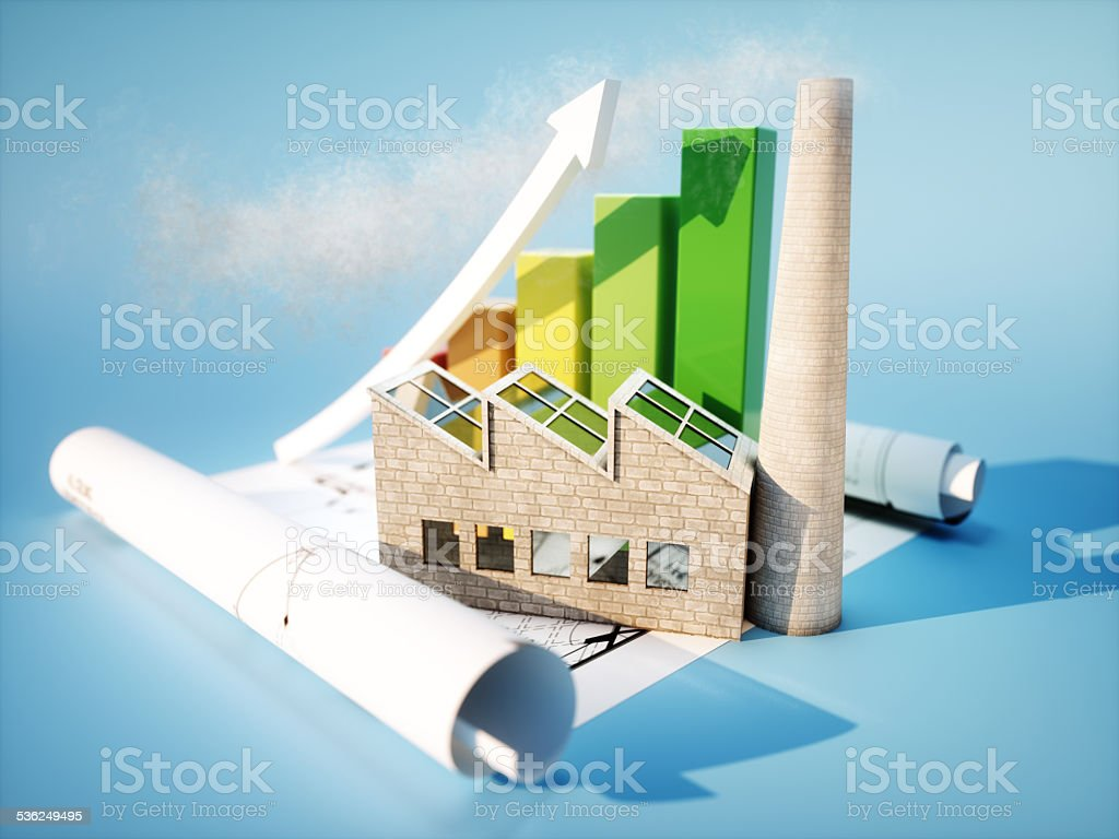 Factory with blueprint and graph stock photo