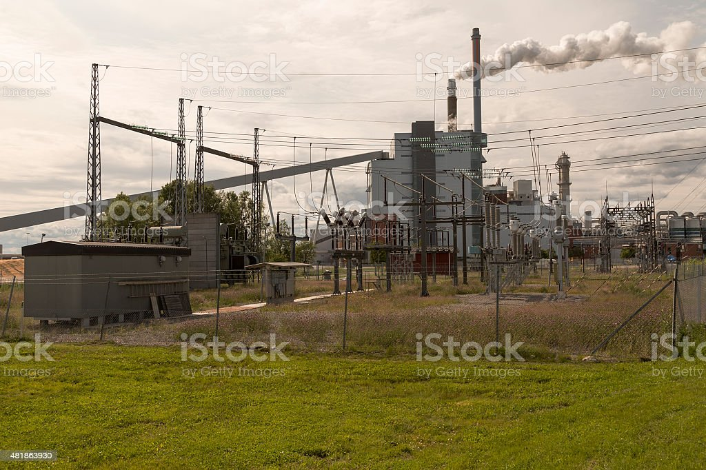 factory with smoke royalty-free stock photo