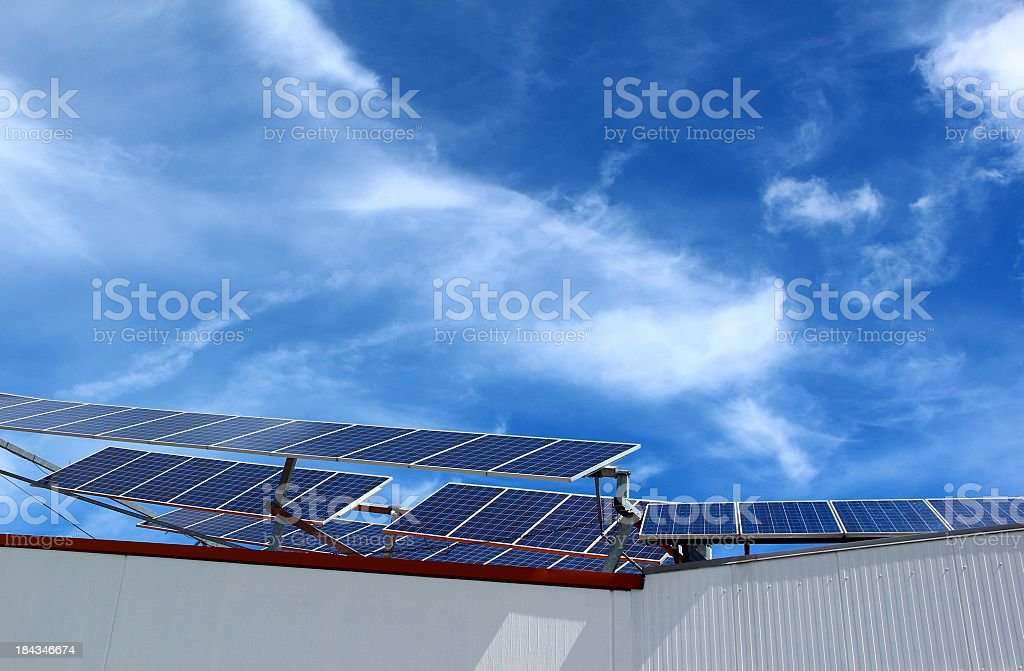 Factory with solar panels royalty-free stock photo