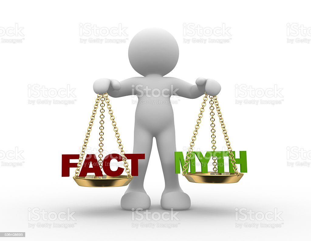 Facts and myth on scale. stock photo