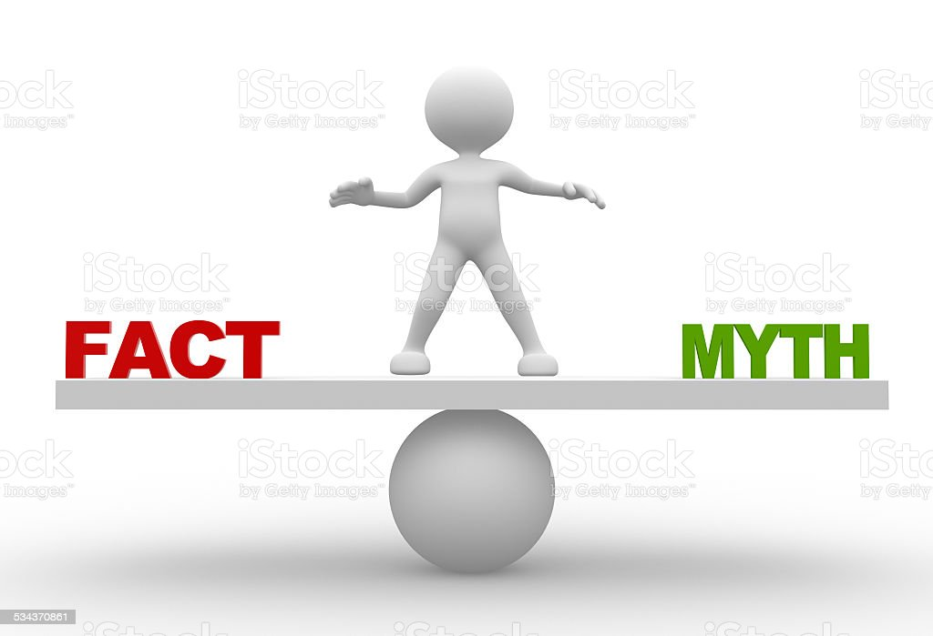 'Facts' and 'myths' on balance scale stock photo