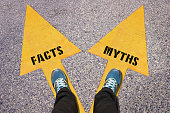 Facts and Myths painted on road