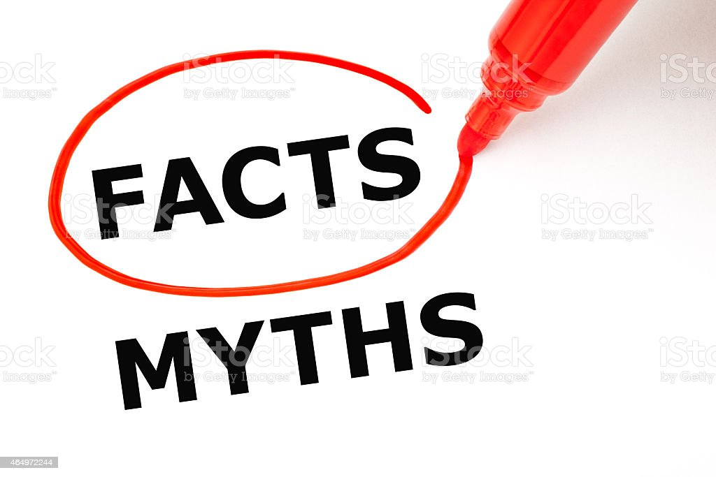 Facts Myths Concept Red Marker stock photo