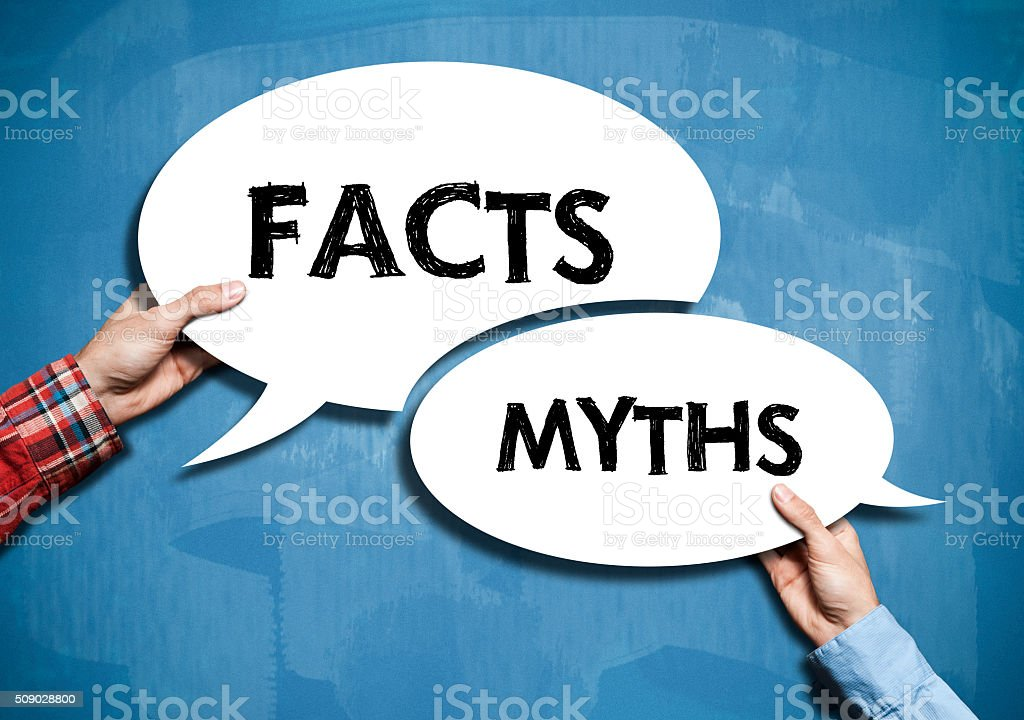 Facts or Myths / Blue board concept (Click for more) stock photo