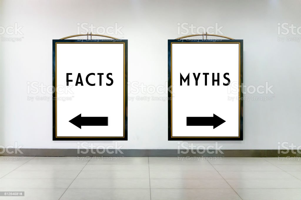 Facts or Myths Concept on Two Billboards stock photo