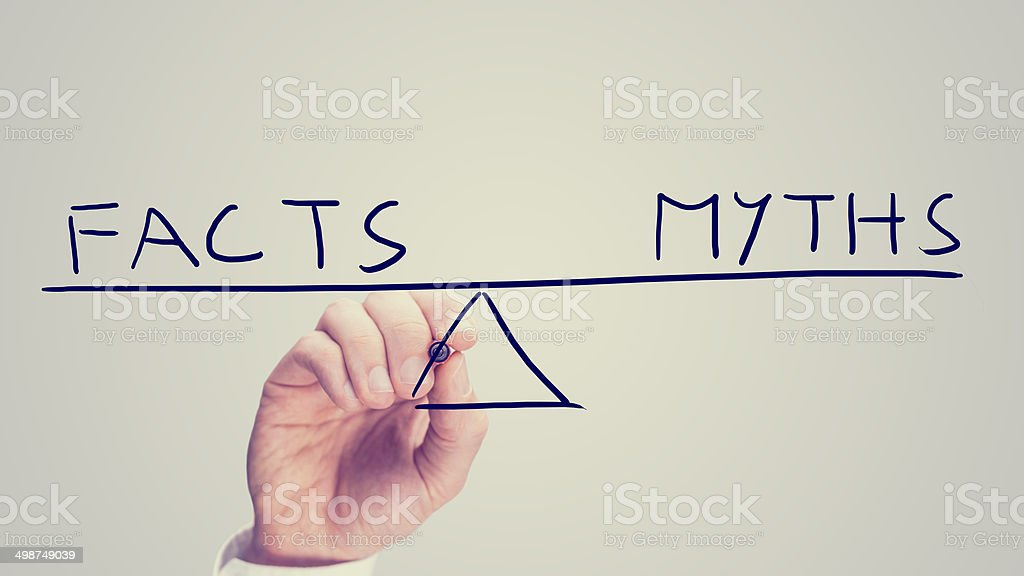 Facts versus myths stock photo