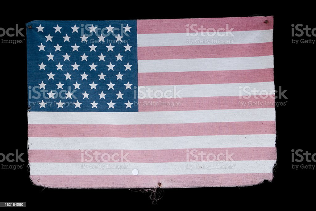 Faded American Flag Isolated on a Black Background royalty-free stock photo