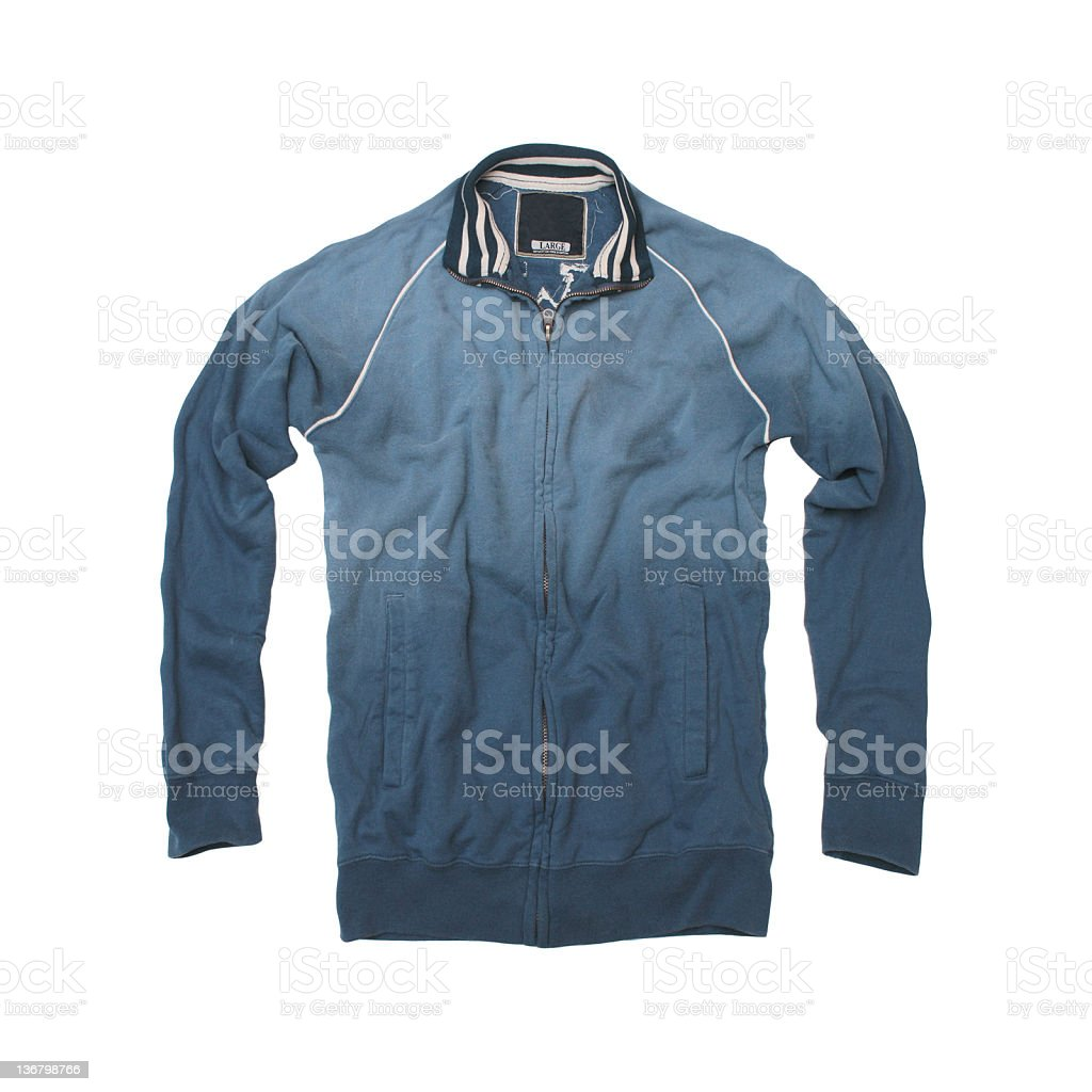 Faded Blue Track Jacket - White Background royalty-free stock photo