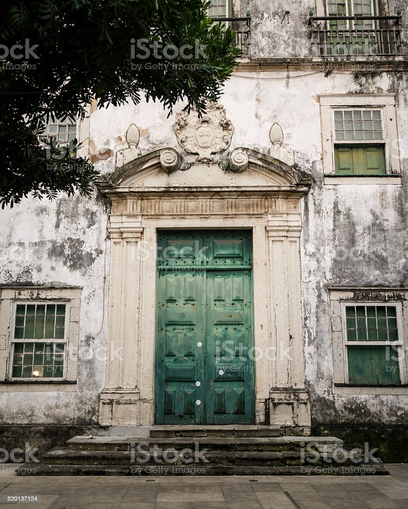 Faded colonial architecture, Salvador, Brail stock photo