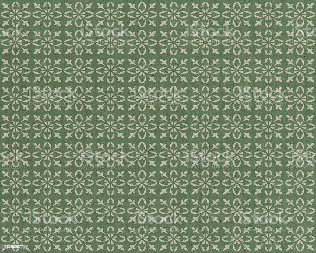 faded green paper with flower pattern royalty-free stock photo