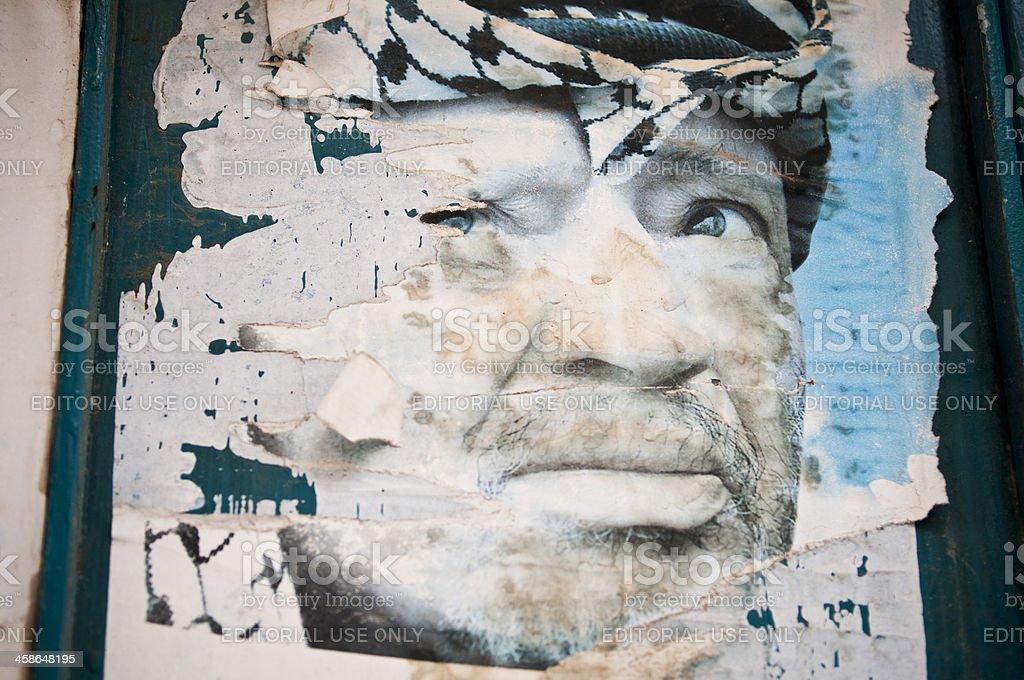 Faded poster of Yasir Arafat stock photo