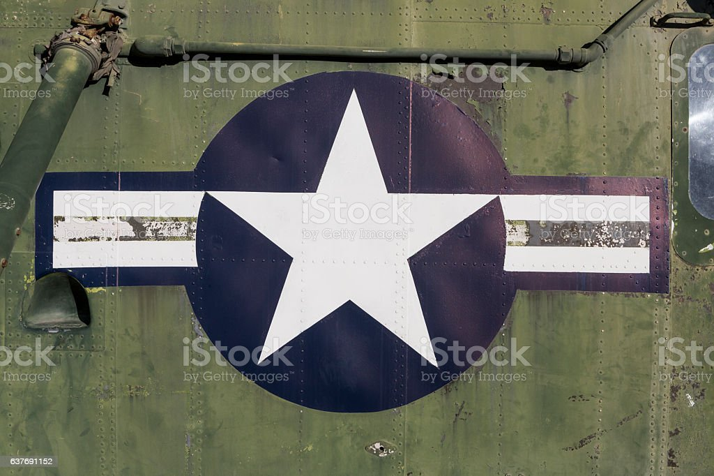 Faded United States military aircraft national insignia stars and stripes stock photo
