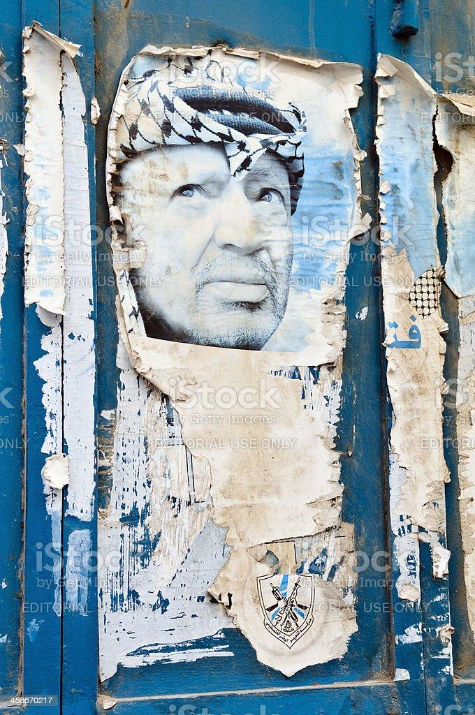Faded Yasir Arafat poster stock photo