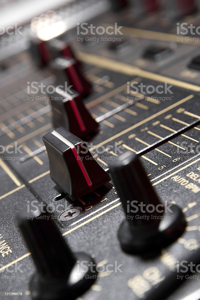 Faders on professional mixing controller stock photo