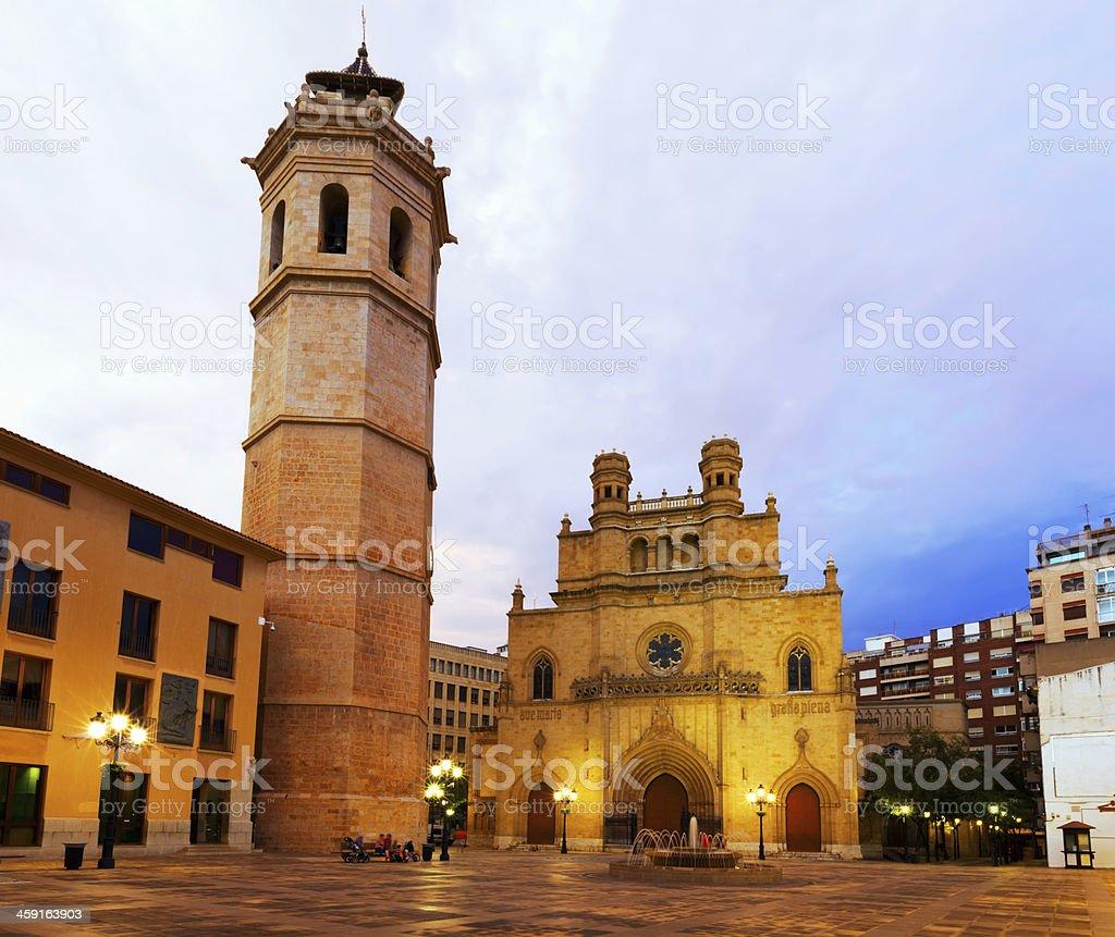 Fadri tower and Gothic Cathedral. Castellon de la Plana stock photo