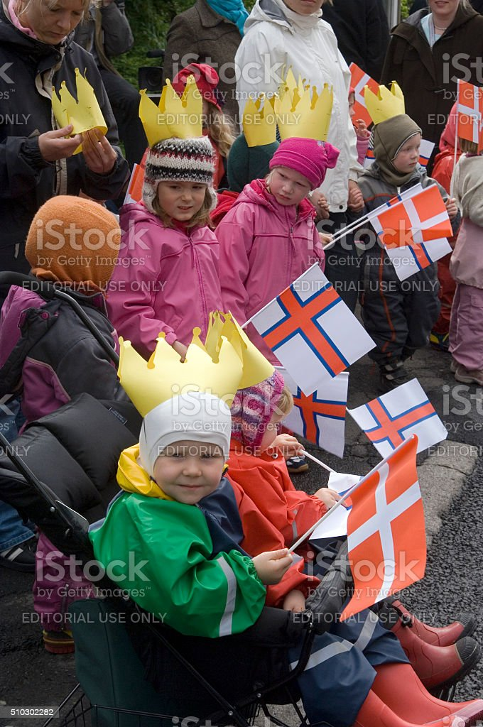 Faeroese children in traditional dresses, Faroe Islands, Denmark stock photo