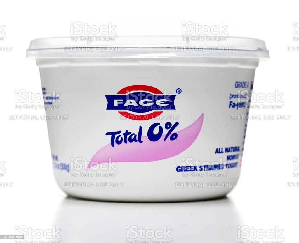 Fage greek strained yogurt jar stock photo