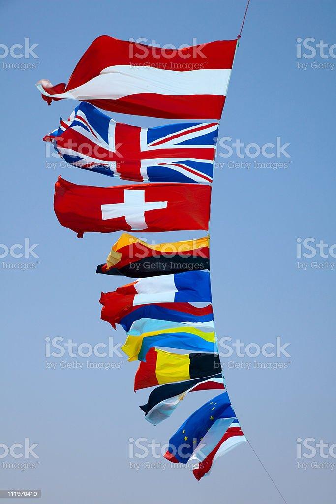 fags of various European countries stock photo