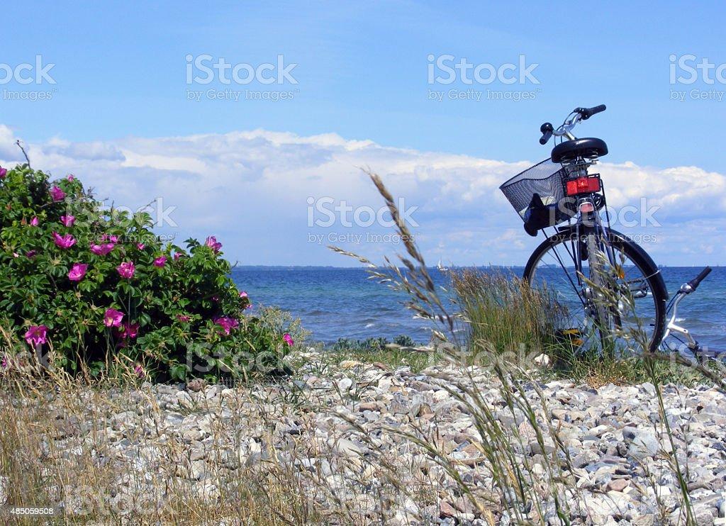 Fahrradtour am Meer stock photo
