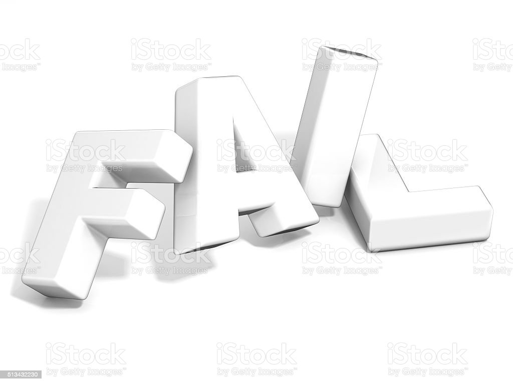 Fail concept. White letters isolated 3D stock photo