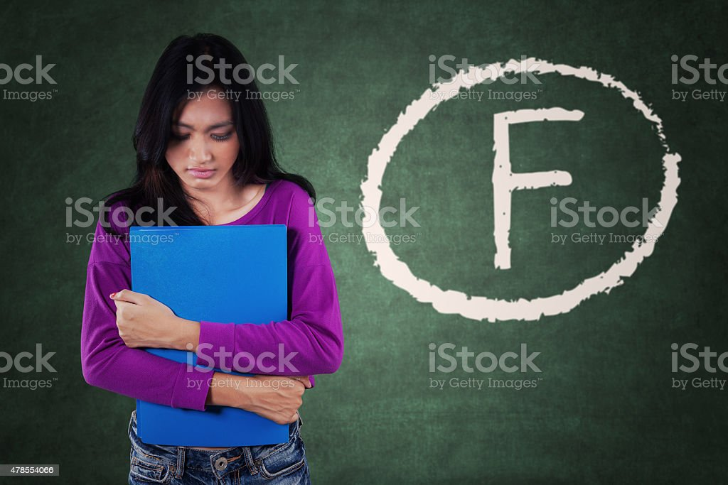 Failed student get bad score stock photo
