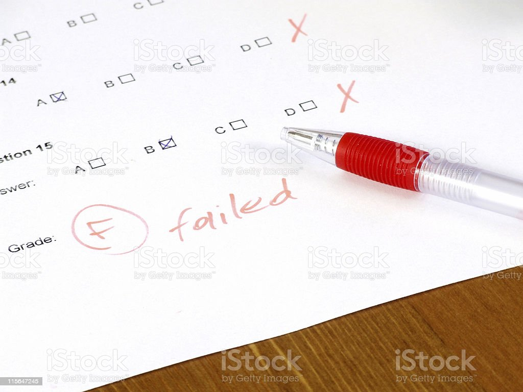 Failed test - college concept stock photo