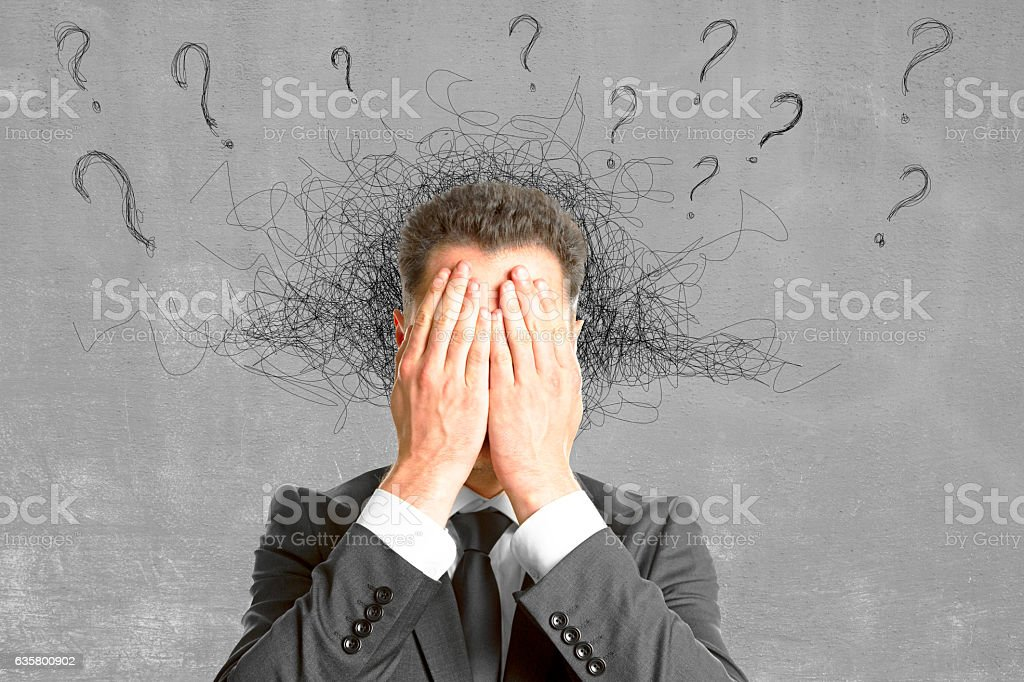 Failure, fear and confusion concept stock photo