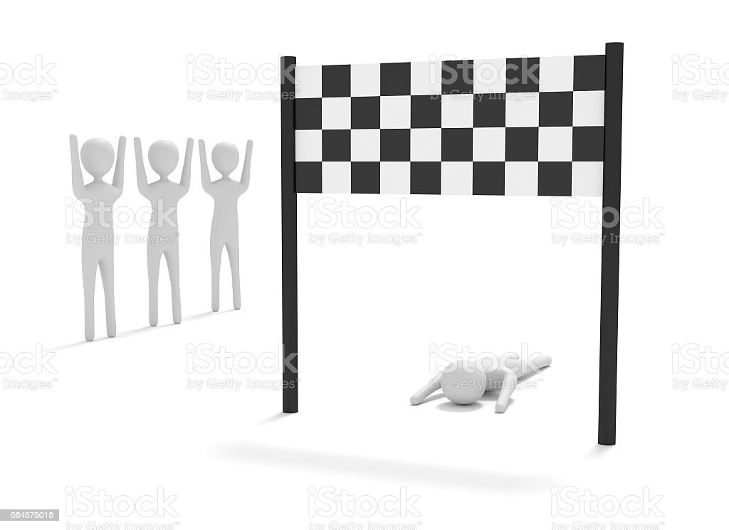 Failure on the home stretch, 3d illustration stock photo