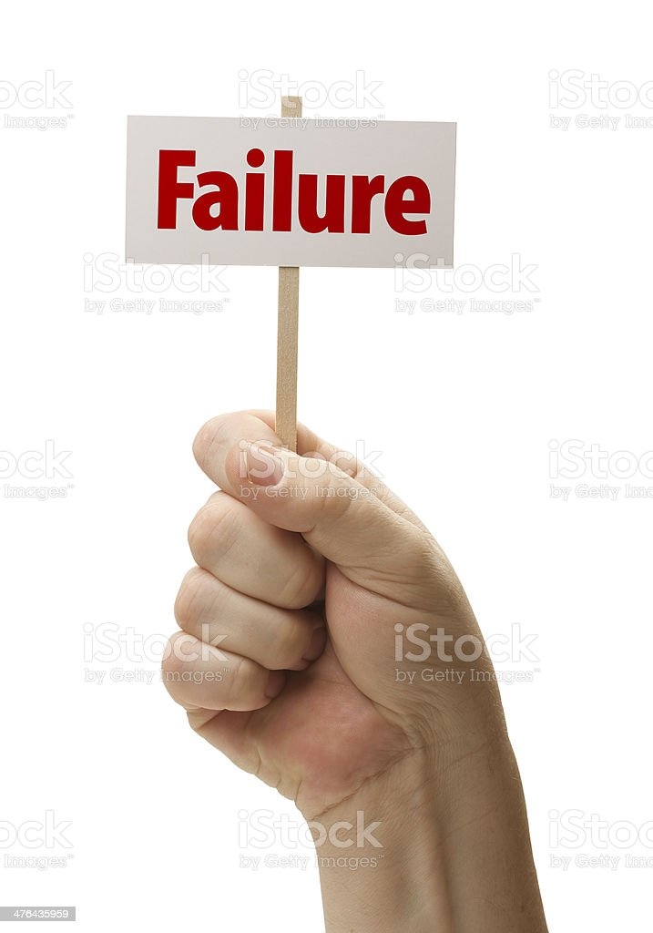 Failure Sign In Fist On White royalty-free stock photo