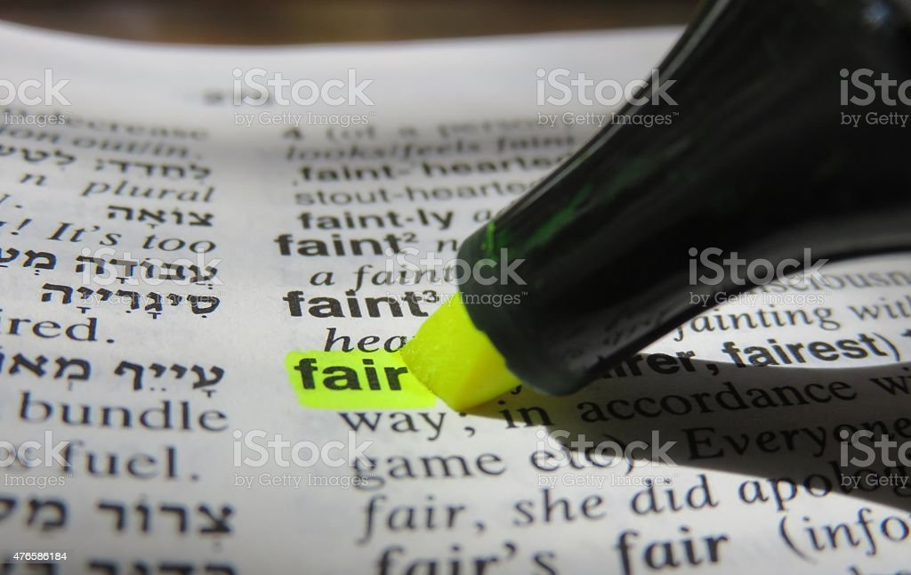 Fair, dictionary definition stock photo