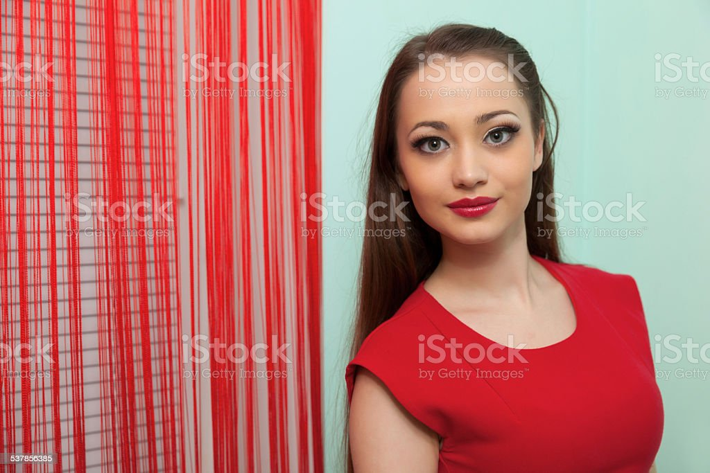 Fair haired young woman's portrait. stock photo