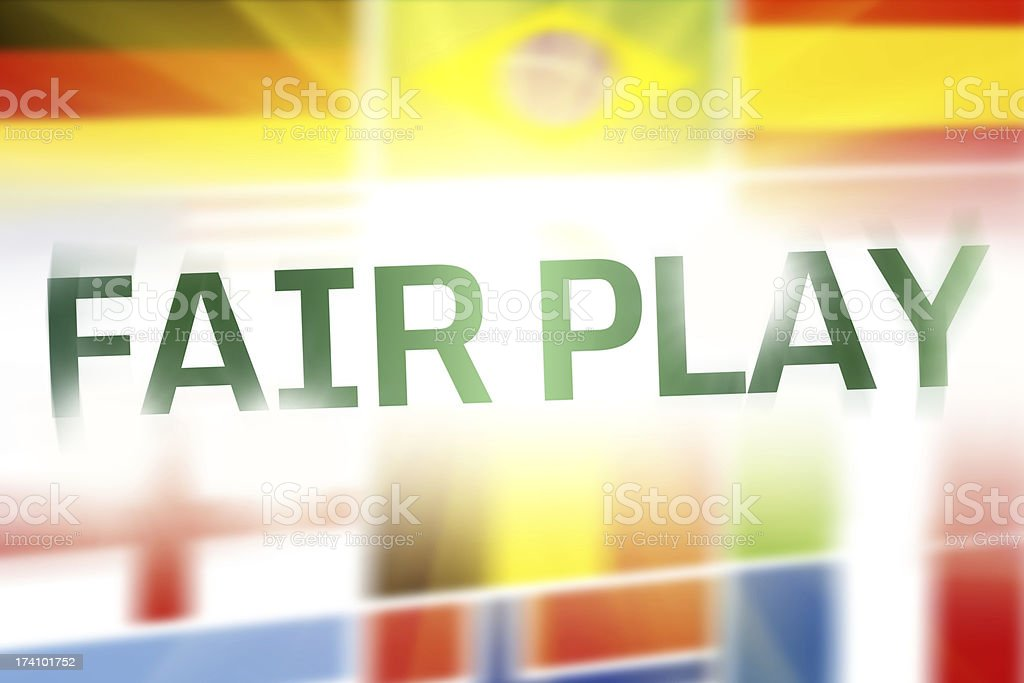 Fair Play written on abstract flags background royalty-free stock photo