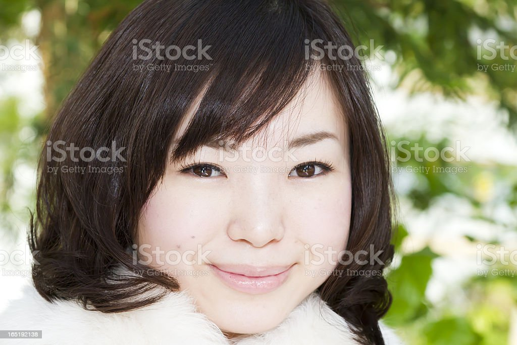 Fair Skinned Japanese Woman Smiling stock photo