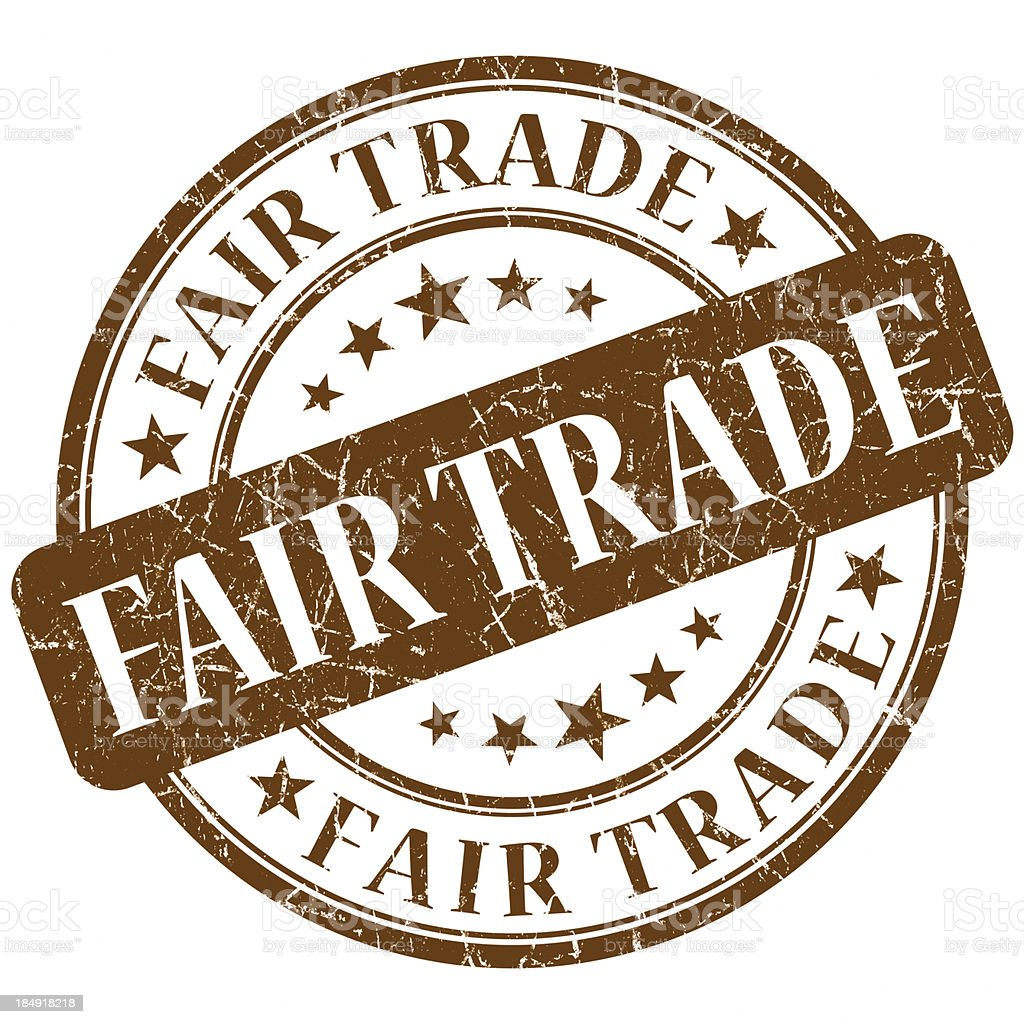 fair trade brown round stamp vector art illustration